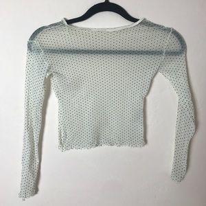 Tops - See Through White and Black Polka Dot Shirt